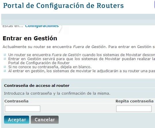 Modificar gestión router movistar