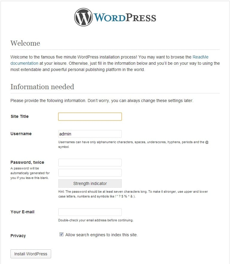 Wordpress pantalla inicial