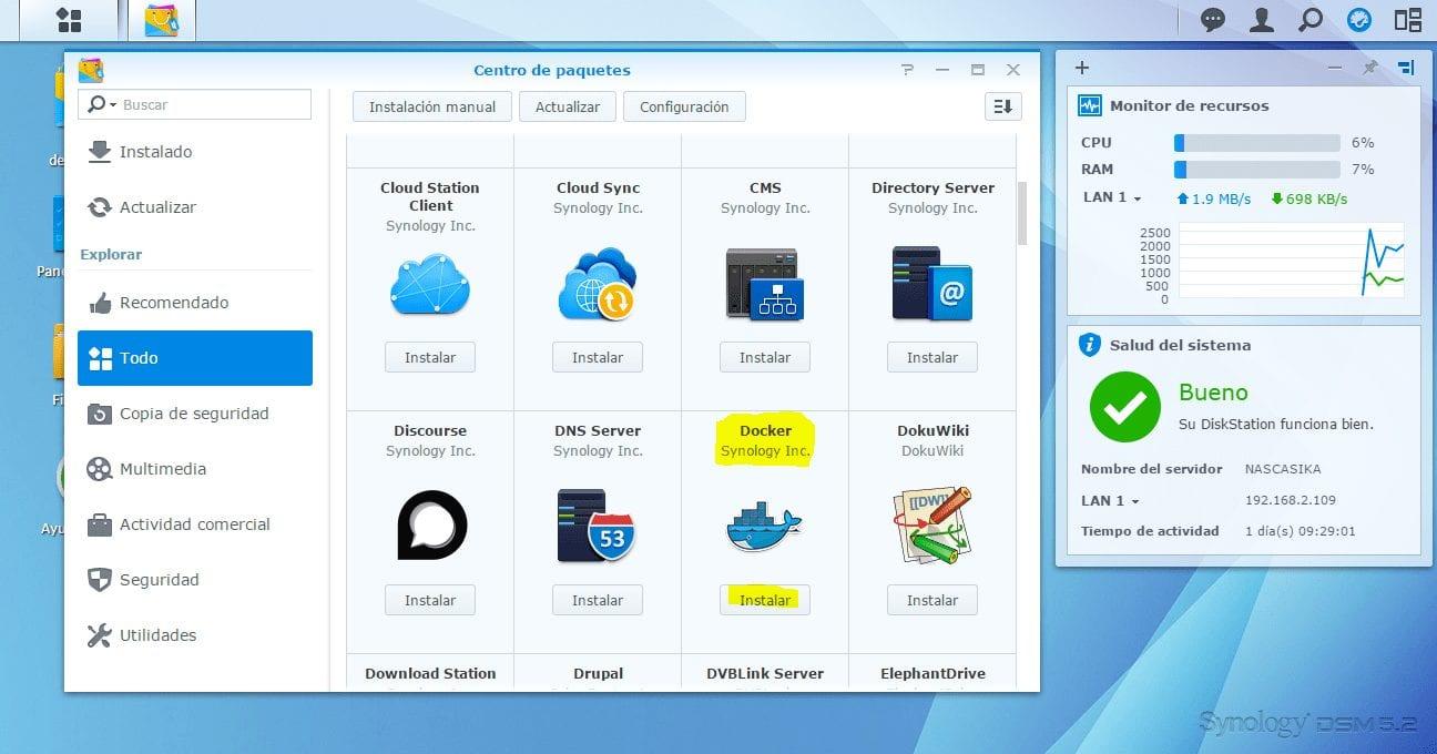 Dockers en VMware con Synology